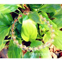 黄水晶手链 天然黄水晶圆珠手链 5A黄水晶手链 浅黄水晶批发价格