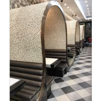 横岗不锈钢卡座沙发报价,深圳茶餐厅家具定制公司,双色大理石台面批发