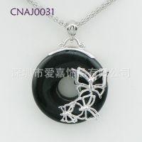 925银吊坠 镶嵌天然黑玛瑙 来图来样加工生产 广东纯银珠宝首饰工厂