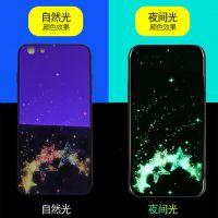IPhoneX/XS/XR蓝光夜光玻璃手机壳 oppo玻璃奢华发光彩绘保护套厂家批发定制