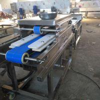 生产鸡脯肉切片机 鸡心连续切片机器 防滑输送带 康汇厂家