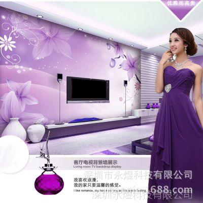 现代简约花卉系列《大型无缝壁画/个性壁画壁画定制》紫色花卉