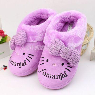 供应tm36卡通kt猫清仓包根棉鞋 保暖毛绒拖鞋 软底室内拖鞋加厚