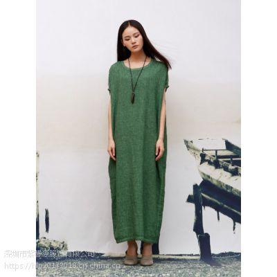 棉麻简约品牌女装批发 高端时尚纯色必然品牌折扣女装货源供应