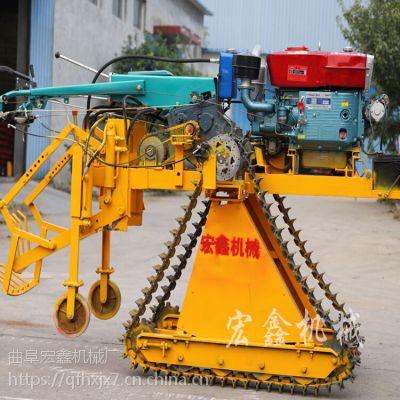大葱大姜收获机 手扶履带式挖葱机 宏鑫18马力自走式起葱机价格